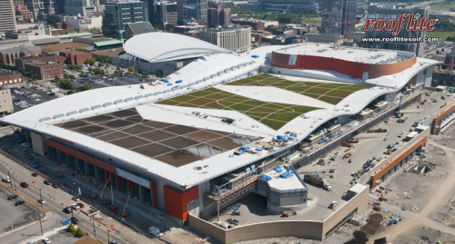 rooflite greenroof media installation at the Nashville Music City Center